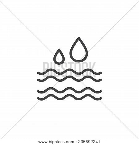 Water Drop Outline Icon. Linear Style Sign For Mobile Concept And Web Design. Water Waves Simple Lin
