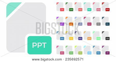 Flat File Format Icons. Audio, Video, Image, System, Archive, Code And Document File Types.vector Il