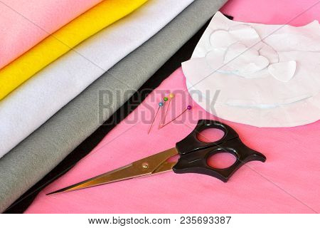Tools And Materials For Sewing. Sewing Set. Sewing Concept. How To Hand Sew