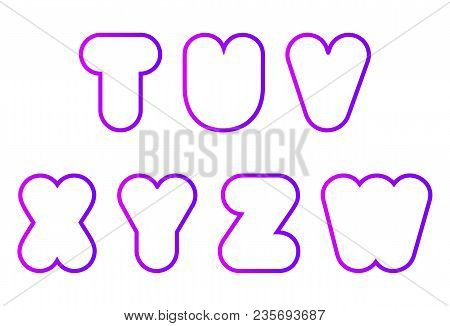 Vector Set Of Super Bold Capital Rounded Font, Letter T, U, V, W, X, Y, Z