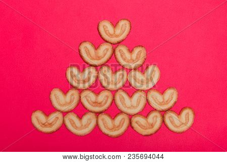 Cookies Laid Out In The Form Of A Christmas Tree
