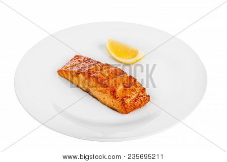 Fish, Trout, Keta, Pink Salmon, A Piece, Baked, Fried Over An Open Fire, With A Slice Of Lemon. Appe