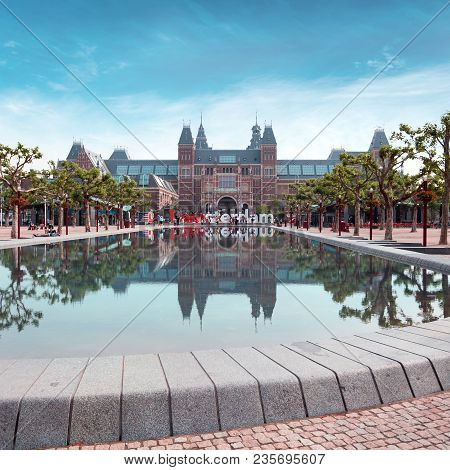 Amsterdam, The Netherlands - July 11, 2014: Rijksmuseum Amsterdam Museum With Words I Amsterdam And