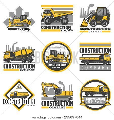 Vintage Colored Construction Vehicles Emblems Set With Bulldozer Excavator Concrete Mixer Dump Build