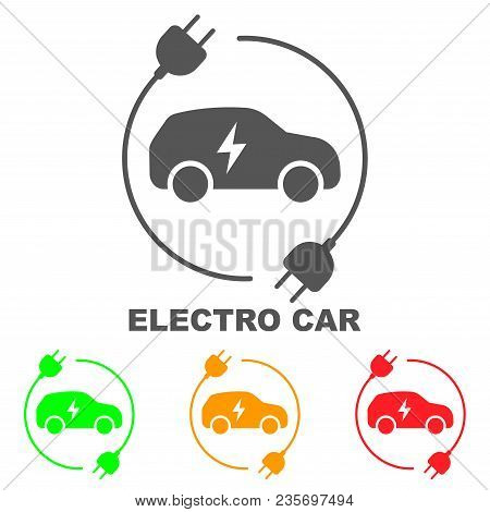 Icons Of Electric Cars, Vector. Side View Of The Electric Vehicle. The Indication Of The Battery Lev