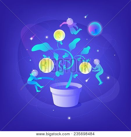 Vector Illustration Of People Silhouettes Growing Up A Money Tree In Space. Business Metaphor Cosmic