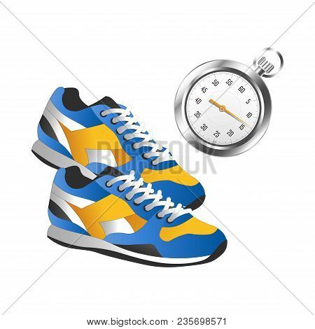 Modern Pair Of Sneakers For Sport And Silver Timer. Professional Runner Equipment Set. Convenient Sp