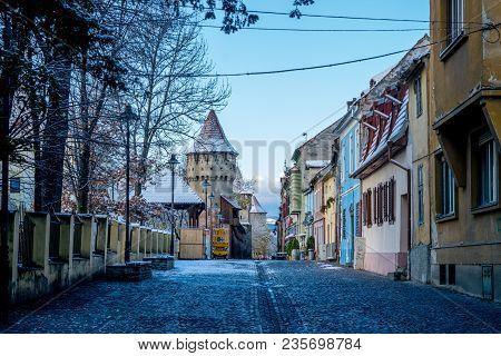 Sibiu, Romania - 31 October, 2017: View To The Cetatii Street In Sibiu, Romania.