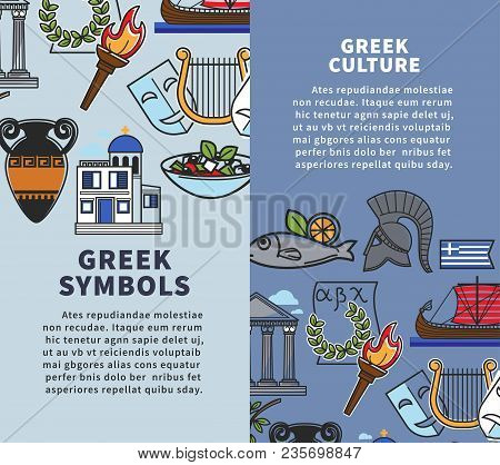 Greece Famous Sightseeing Landmarks Icons And Greek Culture Attraction Symbols For Travel Or Tourist