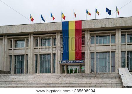 Sibiu, Romania - 1 December, 2017: The Ground Forces Building In Sibiu, Romania.
