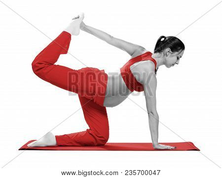 Pregnant Woman Doing Stretching Exercise During Workout, Isolated