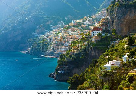 Morning View Of Positano Cityscape On Coast Line Of Mediterranean Sea, Italy
