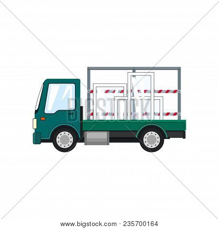 Small Truck Transports Glass Isolated On White Background, Transportation And Cargo Delivery Service