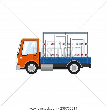 Orange Truck Transports Windows , Lorry Isolated On A White Background, Transportation And Cargo Del