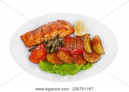 Fish, Trout, Keta, Pink Salmon, A Piece, Baked, Fried Over An Open Fire, With A Slice Of Lemon, Vege