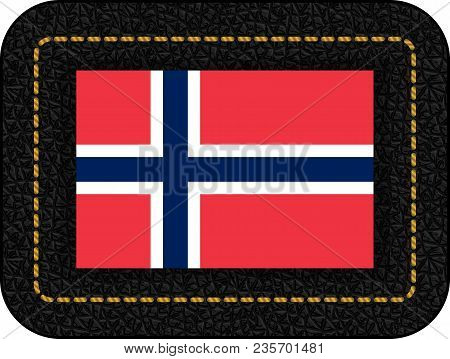 Flag Of Norway. Vector Icon On Black Leather Backdrop