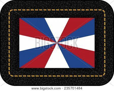 Dutch Flag The Prinsengeus. Vector Icon On Black Leather Backdrop