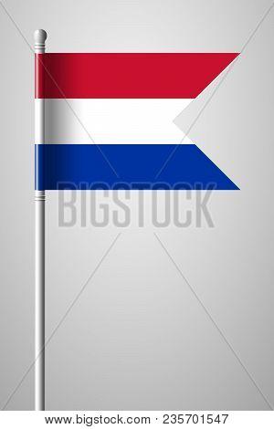 Flag Of Netherlands. National Flag On Flagpole. Isolated Illustration On Gray