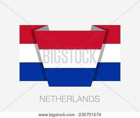 Flag Of Netherlands. Flat Icon Waving Flag With Country Name