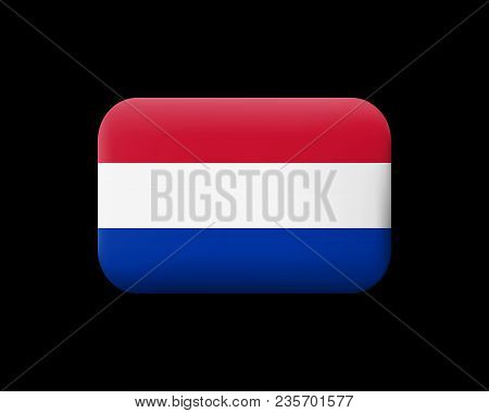 Flag Of Netherlands. Matted Vector Icon And Button. Rectangular Shape