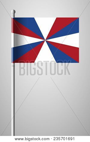 Dutch Flag The Prinsengeus. National Flag On Flagpole. Isolated Illustration On Gray