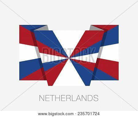 Dutch Flag The Prinsengeus. Flat Icon Waving Flag With Country Name