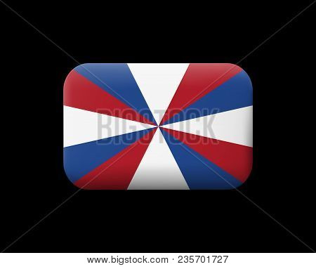 Dutch Flag The Prinsengeus. Matted Vector Icon And Button. Rectangular Shape