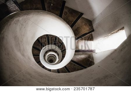 Spiral Stone Staircase In Tower Of Old Church In Valencia, Spain
