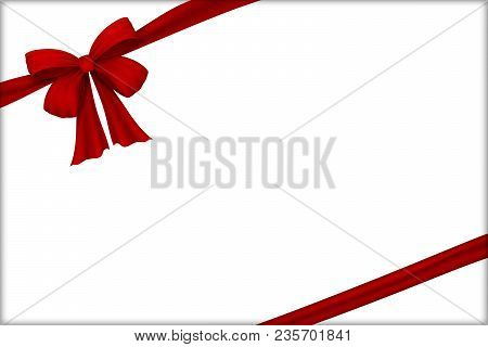 Vector Realistic Red Bow. Bow Of Satin Ribbon. Velvet Bow. Postcard Template. For The Design Of Draw