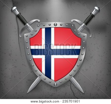 Flag Of Norway. The Shield With National Flag. Two Crossed Swords. Medieval Background