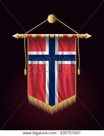 Flag Of Norway. Festive Vertical Banner. Wall Hangings