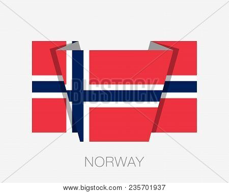 Flag Of Norway. Flat Icon Waving Flag With Country Name