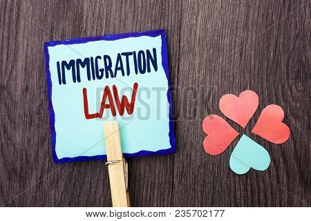 Handwriting Text Writing Immigration Law. Concept Meaning National Regulations For Immigrants Deport