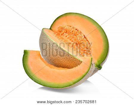 Japanese Melons, Orange Melon Or Cantaloupe Melon Isolated On White Background