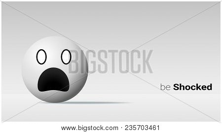 Emotional Background With Shocked Pale Face Emoji , Vector , Illustration