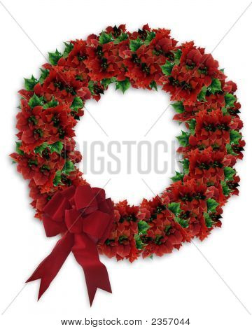 3D Poinsettia Wreath With Red Bow