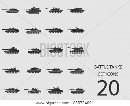 Battle Tanks Set Of Flat Icons. Simple Vector Illustration