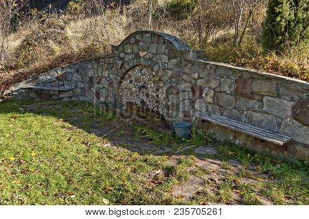 Fresh Water Gush From  Old Fountain In The Balkan Mountain, Near Village Lokorsko, Bulgaria