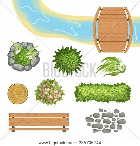 Colorful Set Of Landscape Elements. Wooden Bridge And Bench, Tree Stump, Small River, Various Green
