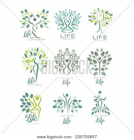Set Of Life Logo Templates With Silhouettes Of Human Body And Green Leaves Of Trees. Abstract Emblem