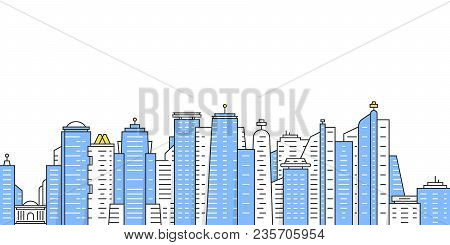 Colored Thin Line City Panoramic View. Concept Of Panorama Of Downtown Area Like Hong Kong And Neigh
