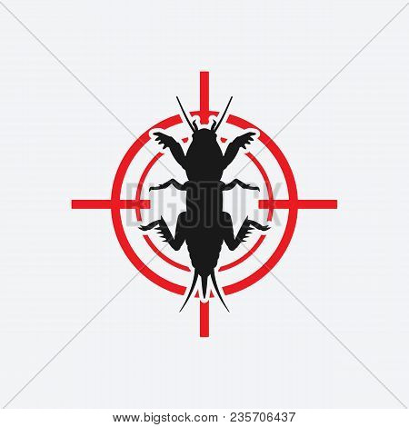 Mole Cricket Icon Red Target. Vector Illustration - Eps 8