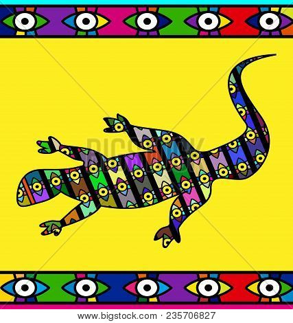 Abstract Colored Background Image Of Lizard Consisting Of Lines And Figures