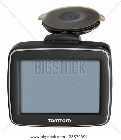Tomtom Gps Car Navigation With Handle. Black Electronic Map Device.