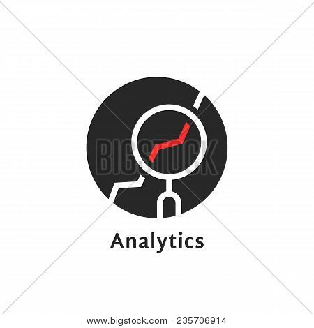 Round Simple Analytics Logo Isolated On White. Concept Of Advisor, Investor Or Consultant Business I