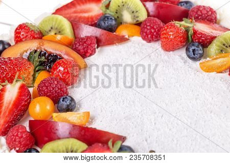 Fruit Cream Cake With Strawberries On A Birthday Girl
