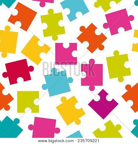 Vector Seamless Pattern Of Colorful Jigsaw Puzzle Pieces.