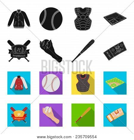 Club Emblem, Bat, Ball In Hand, Ticket To Match. Baseball Set Collection Icons In Black, Flet Style