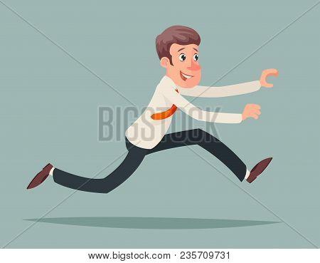Businessman Running Hurry Race Rush Velocity Winner Character Icon Design Cartoon Vector Illustratio