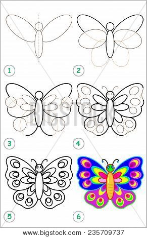 Page Shows How To Learn Step By Step To Draw A Butterfly. Developing Children Skills For Drawing And